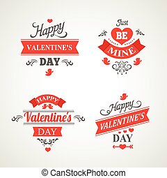 Set of happy valentine's day hand lettering -  ornaments, hearts, ribbon and arrow