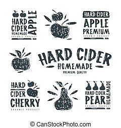 Set of hard cider label and logo. Graphic design with...