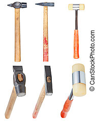 set of hard-faced and soft-faced hammers isolated on white background