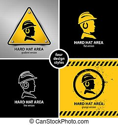 set of hard hat area symbols