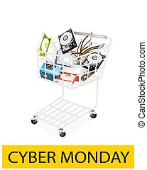 Set of Hardware Computer in Cyber Monday Shopping Cart