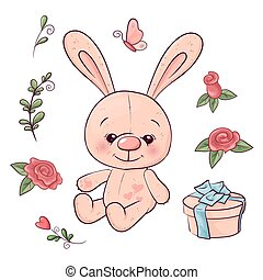 Set of hare and flowers. Hand drawing. Vector illustration