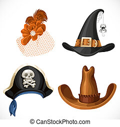 Set of hats for the carnival costumes - female retro hat, witch hat, pirate hat with bandanna and brown cowboy hat isolated on a white background