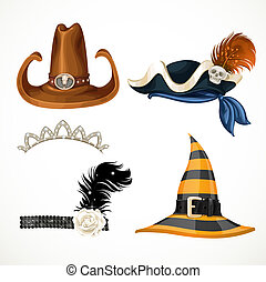 Set of hats for the carnival costumes -  retro, tiara,Witch hat, pirate hat and cowboy hat isolated on a white background