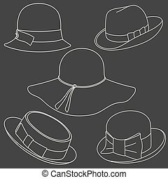 Set of hats on white background