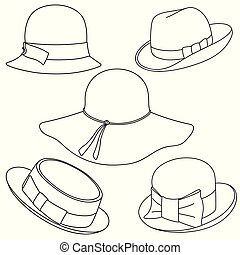 Set of hats on white background