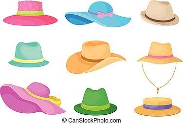 Set of hats. Vector illustration on white background.