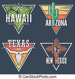 Set of Hawaii Arizona Texas New Mexico tee prints.