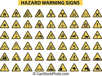set of hazard warning signs on white background