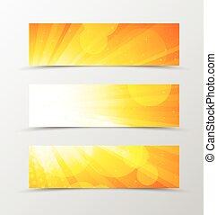 Set of header banner dynamic design in orange colors with...