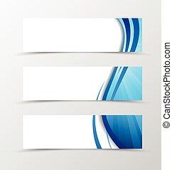 Set of header banner dynamic wave design