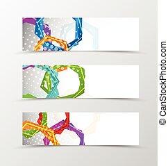 Set of header banner hexagons design