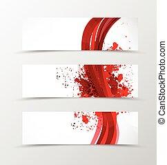 Set of header banner wave design