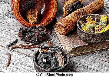 Set of healing herbs - Medicinal herbs of folk medicine...