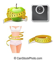 Set of health and body care icon, diet and weight loss