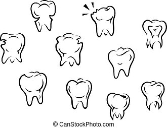 Set of health and illness teeth