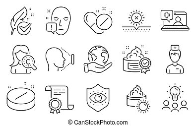 Set of Healthcare icons, such as Collagen skin, Face id, Medical tablet. Vector