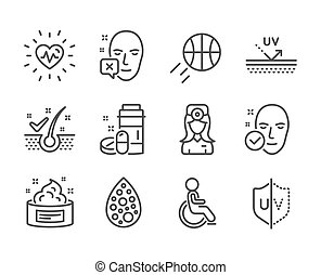 Set of Healthcare icons, such as Uv protection, Uv protection, Health skin. Vector
