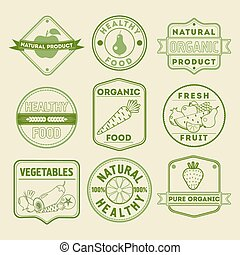 Set of Healthy Food Badges and Logos with Fruits and Vegetables