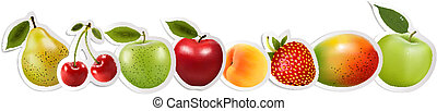 Set of healthy food fruit. Vector.