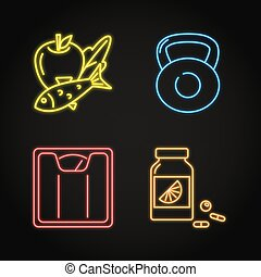 Set of healthy lifestyle concept neon icons