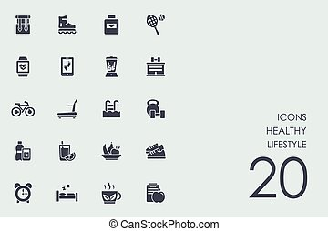 Set of healthy lifestyle icons - healthy lifestyle vector...