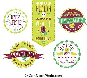 Set of Healthy Lifestyle Labels and Signs With Retro Typography.