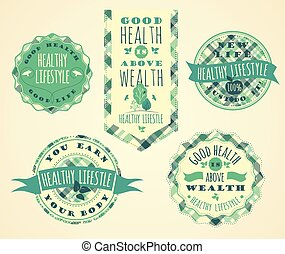 Set of Healthy Lifestyle Labels and Signs