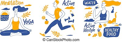 Set of Healthy lifestyle vector designs with people, elements and lettering