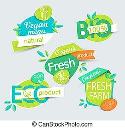 Set of healthy organic food labels.