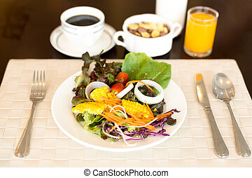 Set of Healthy vegetable salad with coffee and juice