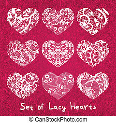 Set of heart applique on canvas background