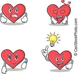 Set of heart character with angry love waiting idea