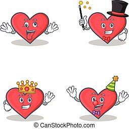 Set of heart character with crazy magician king clown