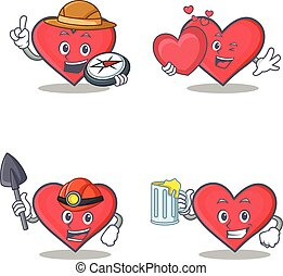 Set of heart character with explorer miner love juice
