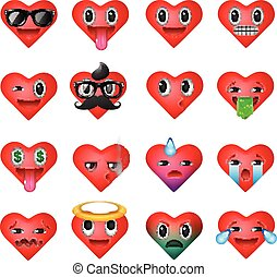 Set of heart emoticons, emoji smiley faces