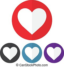 Set of heart icon on a colorful circles. Vector illustration