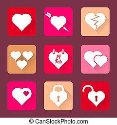 set of heart icons flat design