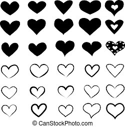 Set of Heart Icons in black