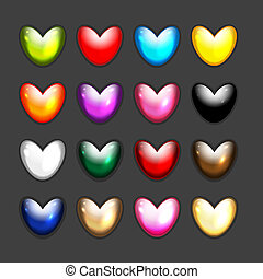 Set of heart shape icons for your design