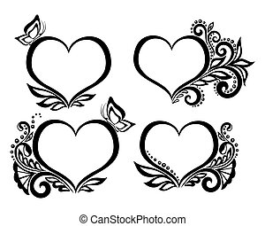 Set of heart with floral design