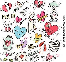 Set of heartbreak doodle