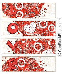 Set of hearts cards with doodles on ornate pattern.