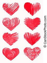 Set of hearts, hand drawn design elements. EPS10