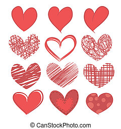Set of hearts on white background.