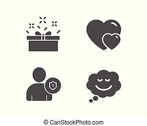 Hearts, Security and Present box icons. Speech bubble sign.