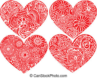 Set of hearts shapes with hand drawn floral ornaments. Love...