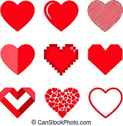 Set of hearts, vector icon.