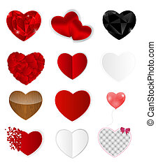 Set of Hearts. Vector Illustration