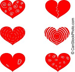 Set of hearts with different texture
